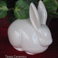Vintage White Bunny Rabbit Cotton Ball Holder Ceramic Bathroom Accent