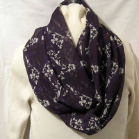 Ladies Infinity scarf, circle scarf, cowl scarf  in dark purple and ivorys