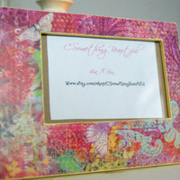 Bright Colorful 4X6 Picture Frame, Boho Style, Purple, Bright Yellow