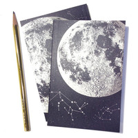 Full Moon Journal, blank sketchbook, metallic silver recycled paper, small pocket size, luna constellation design with starts and animals