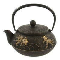Amazon.com: Iwachu Japanese Iron Teapot Tetsubin Gold and Black Goldfish: Kitchen & Dining
