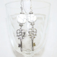 White Crackle Bead Key Earrings