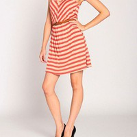 Day Date Striped Dress w/ Belt - 2020AVE