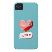Hello! I Love U! Heart On Blue Curacao. Romantic Case-Mate iPhone 4 Cases