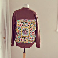 boho. anthropologie. vintage. sweater. multi colored. boyfriend fit. one of a kind. embroidered