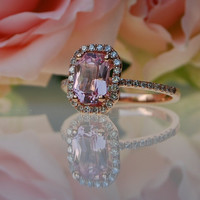 1.37ct emerald cut Peach sapphire Champagne sapphire ring diamond ring 14k rose gold Engagement ring