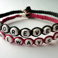 Forever and Always Bracelet Set, Black and Magenta Macrame Hemp, Couples Bracelets, Made to Order