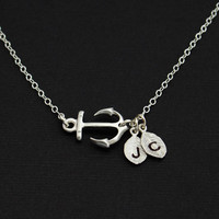 Personalized Silver Anchor Necklace.. Silver Marine jewelry. His and Her Initials. Monogrammed Necklace, Strength, Love