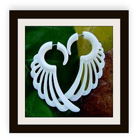 Natural White Craved Bone Fake Gauge Earrings Tropical wing with flowing curls