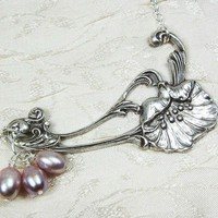 Poppy and Pearls Art Nouveau Necklace by sandrandan on Etsy