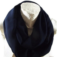 Dark Blue, Navy Blue Infinity Scarf, Chiffon Tube Scarf, Women Accessories