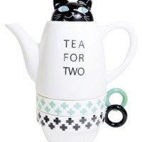 Amazon.com: Tea For Two Porcelain Teapot and 2 Tea Cups Set - Cat: Kitchen & Dining