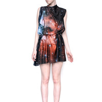 Crimson Galaxy Print Dress
