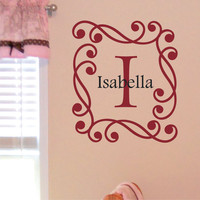 Personalized Monogram Name with Initial Nursery Vinyl Wall Art Decal