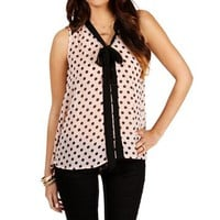 Light Pink Sleeveless Polka Dot Blouse