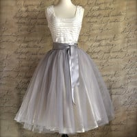 Pale grey tulle tutu skirt for women with by TutusChicBoutique