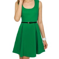 Classic Green Dress - Sleeveless Dress - Belted Dress - &amp;#36;41.00