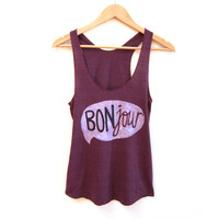 Bonjour Racerback Hand Stenciled Slouchy Scoop Neck Swing Tank Top in Heather Cranberry - XS S M L