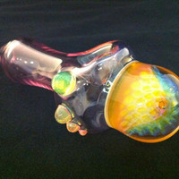 Chunky Pink Glass Pipe with Color Changing by IllustratedSquare