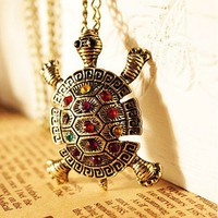 Vintage Bronze Multicolor Rhinestone Encrusted Turtle Pendant Necklace at Online Cheap Vintage Jewelry Store Gofavor