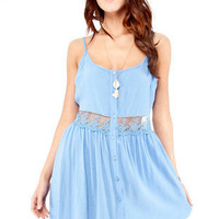 Daydreamin' Gauzy Tank Dress in Blue :: tobi