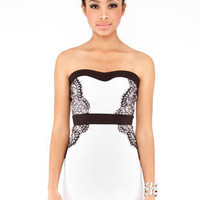 Vena Laced Strapless Dress in Ivory :: tobi