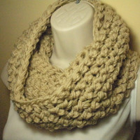 Neutral Off White Cowl Infinity Circle Scarf by madebymandy35
