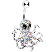 Aurora Gem Encrusted Floating Octopus Belly Button Ring