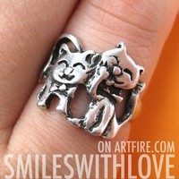 SALE - Kitty Cat Animal Ring in Silver - Sizes 5, 6 and 6.5 Available from Dotoly Love