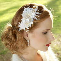 Gold Pearl bridal headpiece, lace bridal headpiece, crystal headpiece, lace hair comb, bridal fascinator, Bridal Headband - CHELSEA