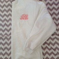 NEW Crewneck Monogrammed Sweatshirt ONLY 21.00 in WHITE only