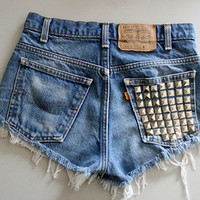 Dark Studded High Wasted Shorts by BohoChildGarments on Etsy