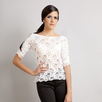 $59.99 Miriam scalloped lace top white by stylemadehere