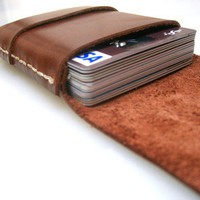 Leather Wallet Men Walle tLeather Card Holder Saddle  by leathermix