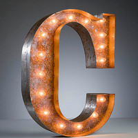 Vintage Marquee Lights - Ready to Ship - Letter C