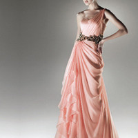 Exquisite Watermelon A-line One-shoulder Floor Length Prom Dress from SinoSpecial