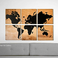 The Wood Grain World Map Collection I by CallaghanArtGallery