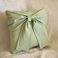 Sage Green Bow Pillow 14 x 14 Accent Pillow 25 OFF by bedbuggs