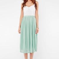 Long Pleated Chiffon Skirt in Mint :: tobi