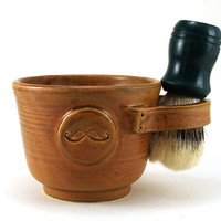Brown Shaving Mug with a Mustache, Shaving Bowl, Great Gift for Men Shave Mug by MiriHardyPottery