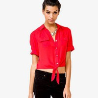 Self-Tie Chiffon Shirt | FOREVER 21 - 2031556590