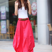 Romantic Watermelon Red Pretty Linen Bud Long Maxi Skirt - NC340