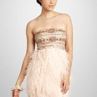 SUE WONG Short Strapless Dress with Feathers in blush