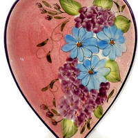 Pastel Decorative Heart Shaped Floral Serving Dish