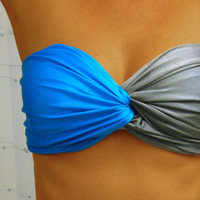 Malibu Blue & Gray Spandex Bandeau - Twisted Colorblock Blend