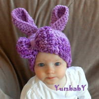 Bunny Hat Newbonr Bunny Hat Baby Girl Purple Easter Bunny with Oversized Bow