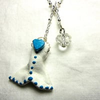 Whale tail polymer clay silver lariat necklace
