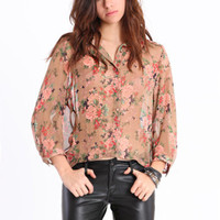 Floral Desire Button Up Blouse - &amp;#36;36.00 : ThreadSence.com, Your Spot For Indie Clothing &amp; Indie Urban Culture