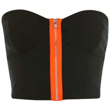 Cropped Zip Bandeau. - Miss Selfridge