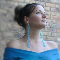 Extra Long Earrings. Turquoise Blue  Earrings. Shoulder Dusters. Beadwork
